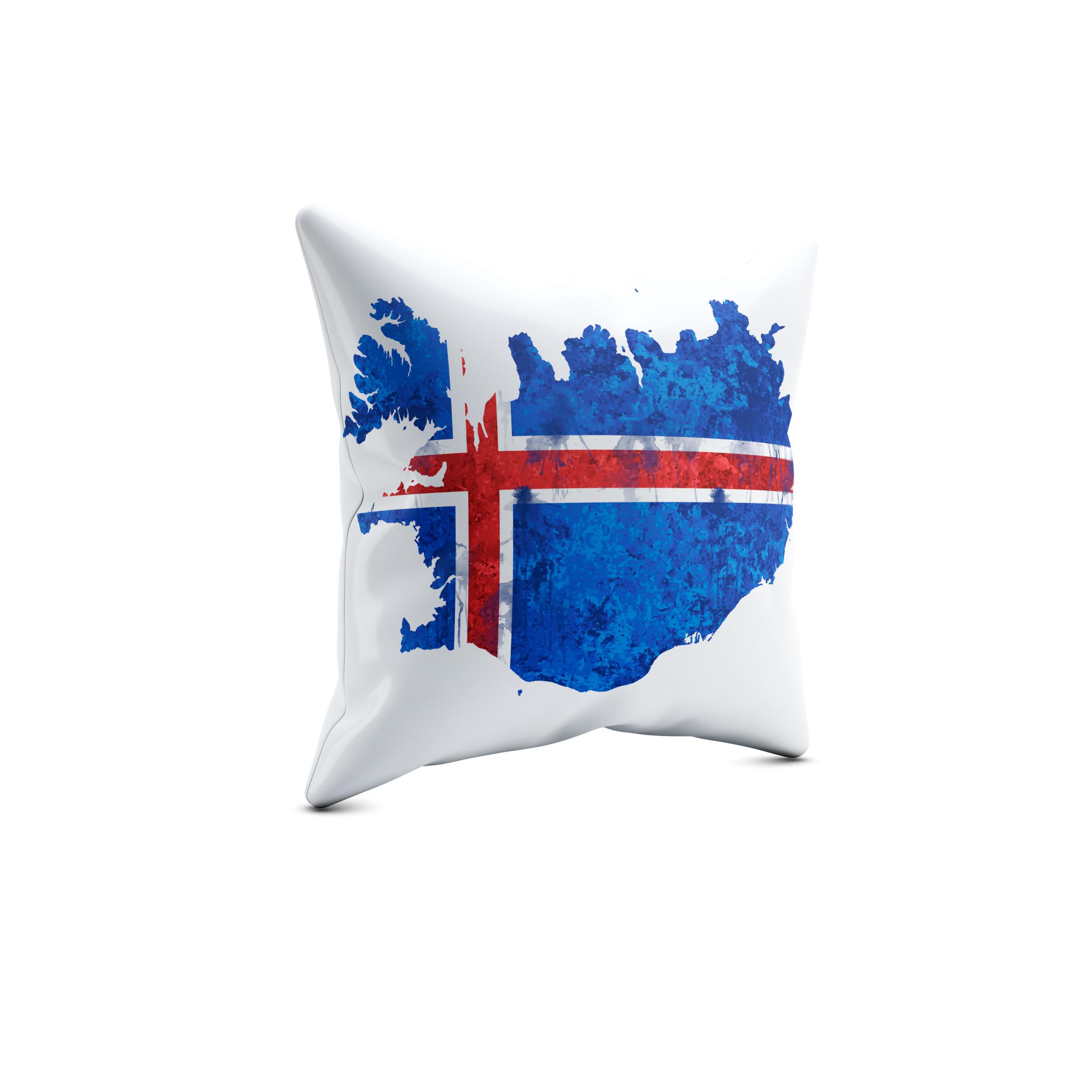 Iceland Artwork – 40x40cm Premium Kissen mit Füllung