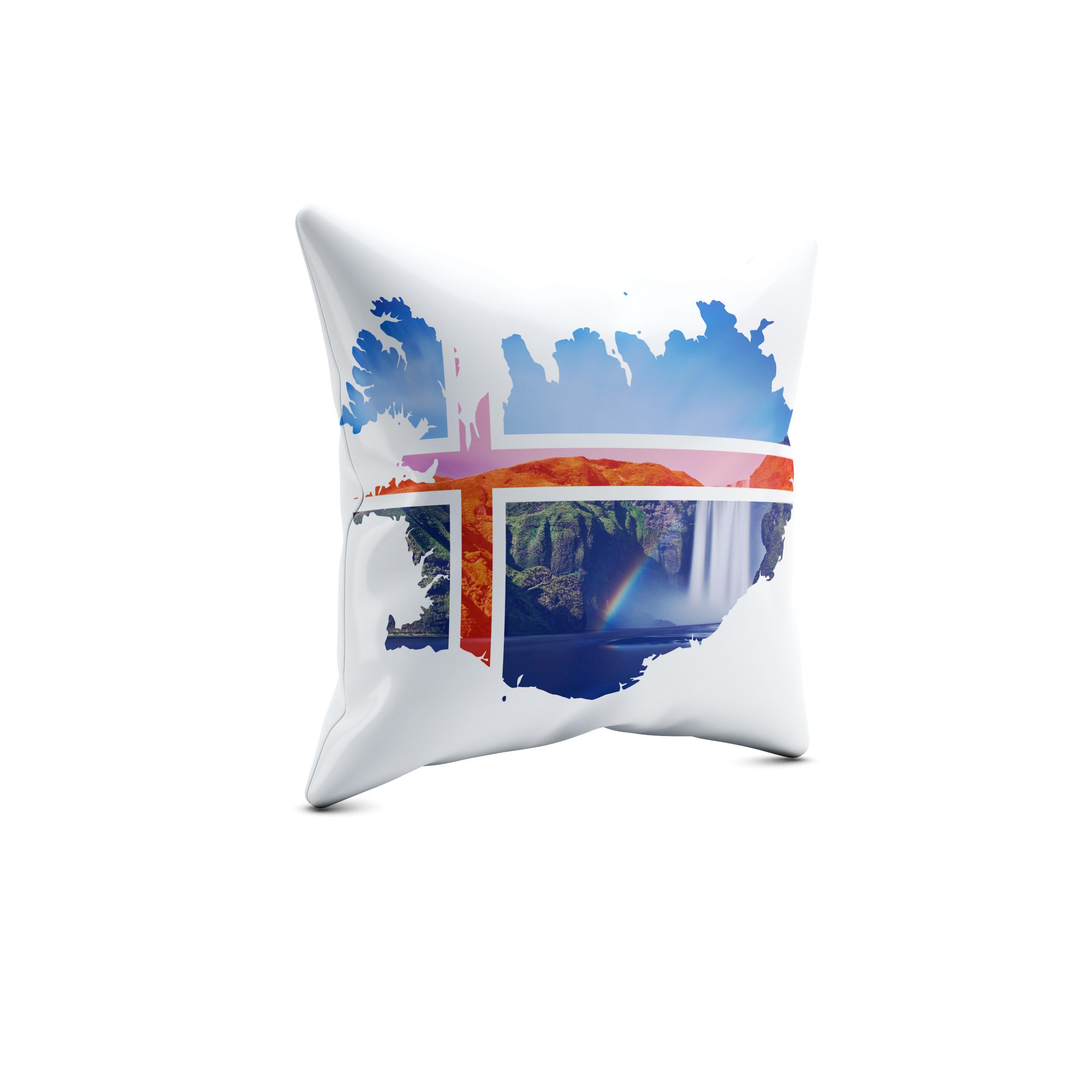 Iceland Godafoss – 40x40cm Premium Kissen mit Füllung