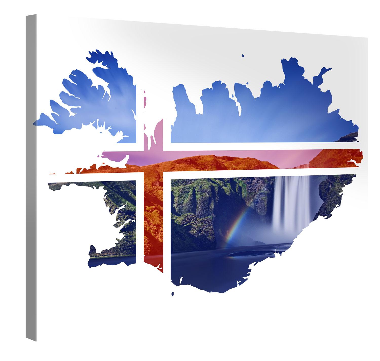 Iceland Godafoss Double Exp. Premium Kunstdruck Wand-Bild - 100x75cm