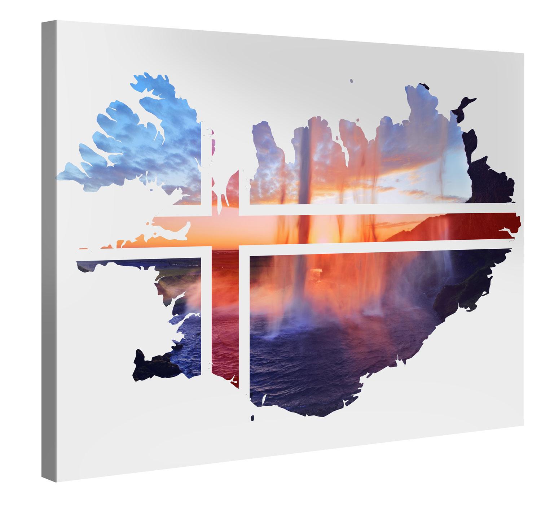 Iceland Seljalandsfoss Double Exp. Kunstdruck Wand-Bild - 100x75cm