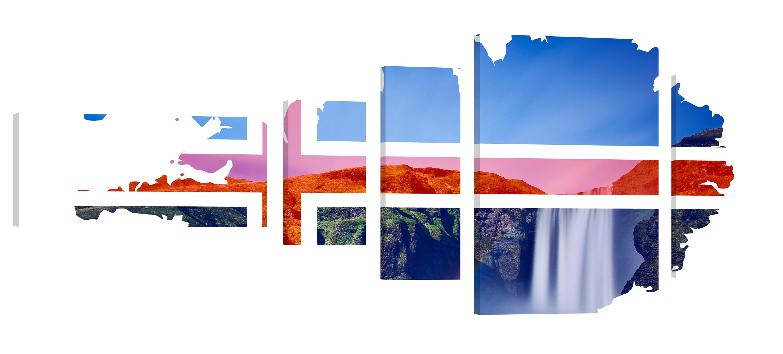 Iceland Godafoss Double Exp. – Premium Kunstdruck Wand-Bild – 200x80cm