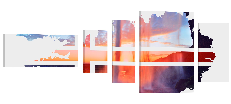 Iceland Seljalandsfoss Double Exp. – Kunstdruck Wand-Bild – 200x80cm