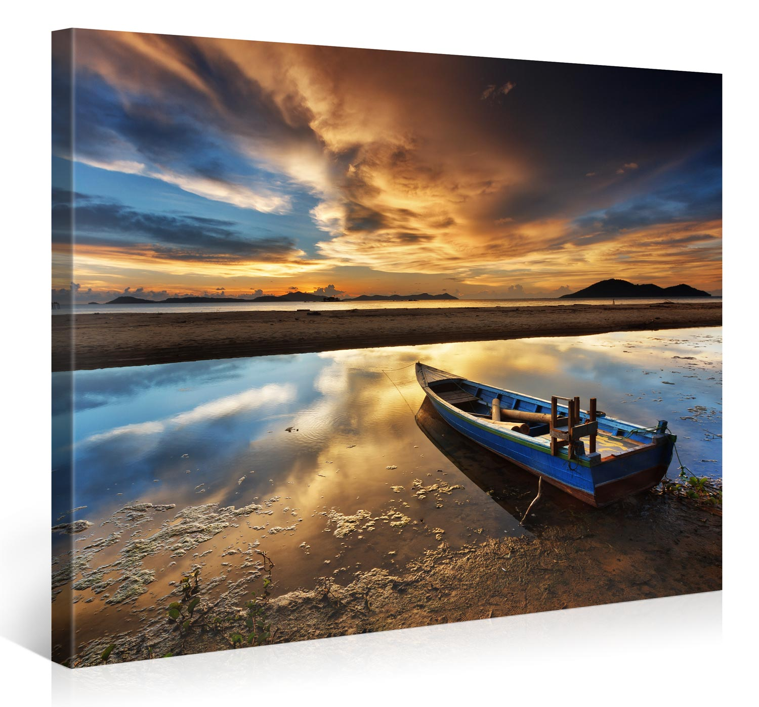 BOAT ON BEACH, ASIA SUNSET - 100x75cm -  #e6369