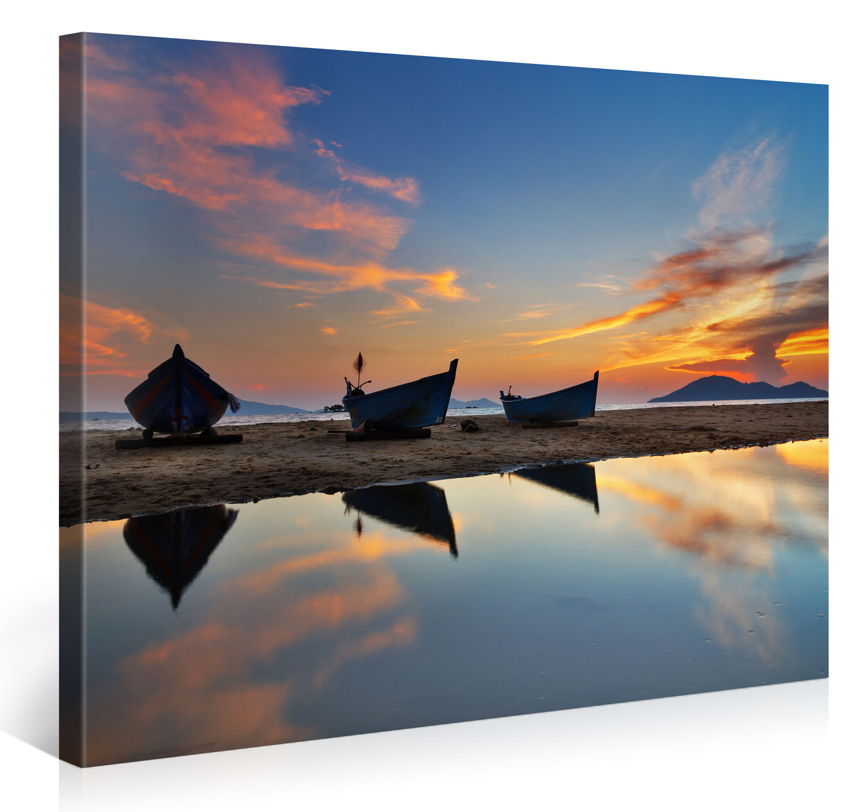 ASIAN FISHINGBOATS ON BEACH - 100x75cm - #e6390