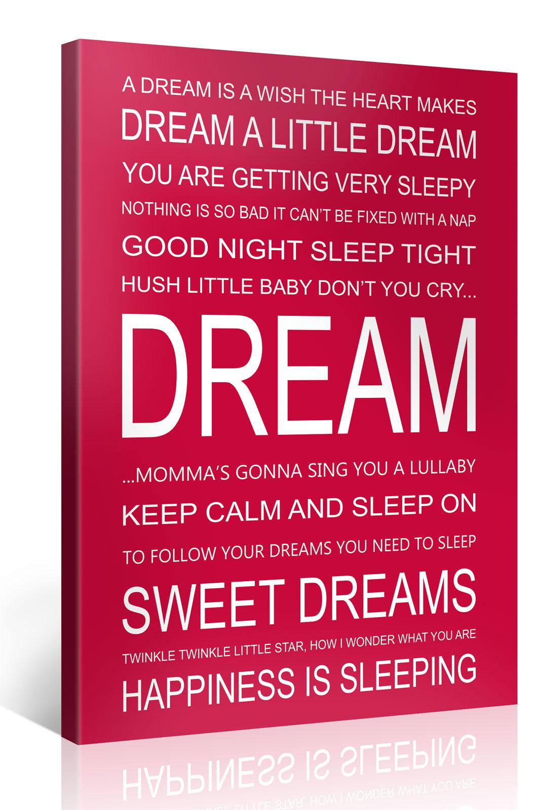 DREAM - 75x100cm Motivation Text Leinwandbild #e7251