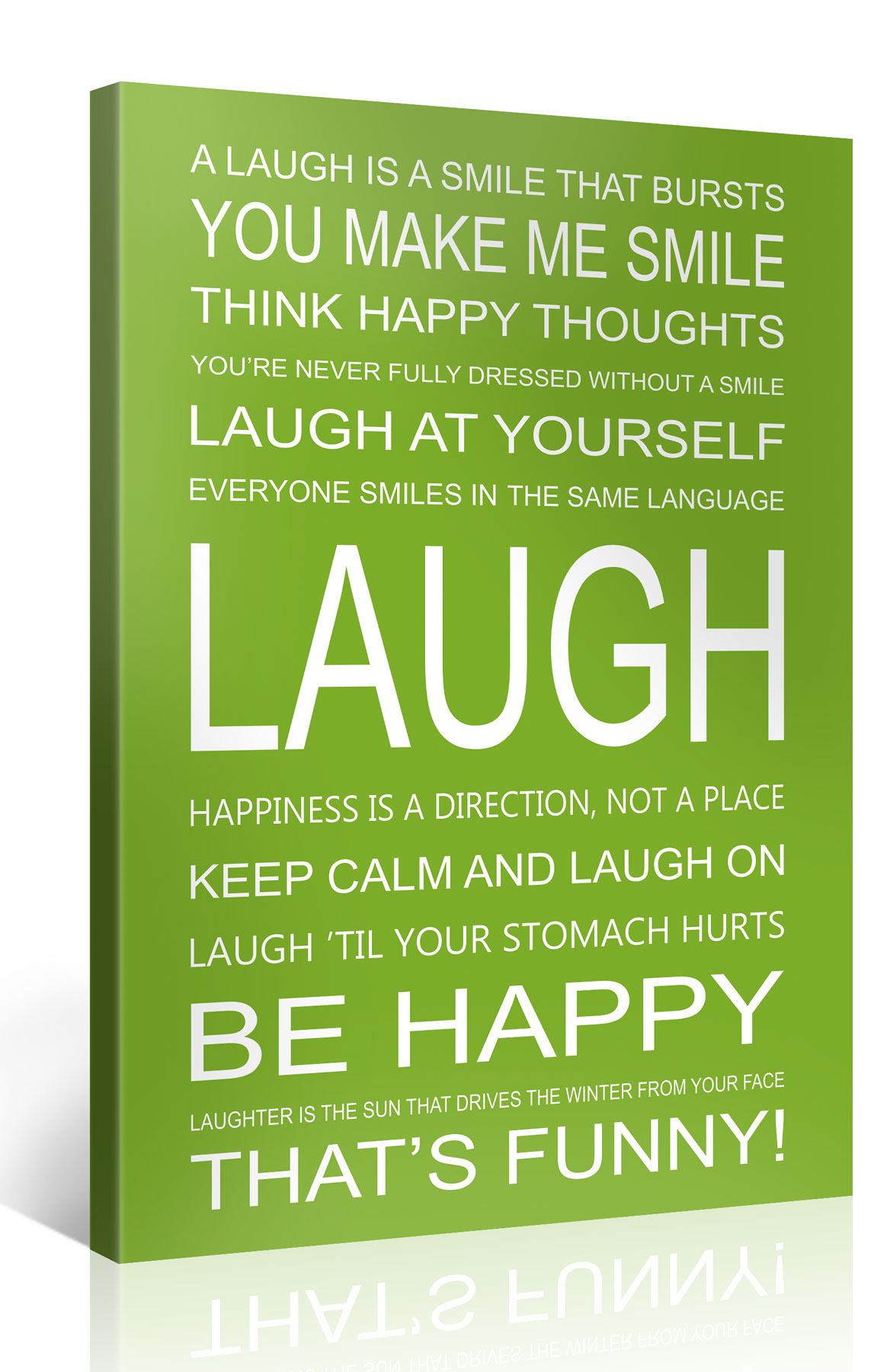 LAUGH - 75x100cm Motivation Text Leinwandbild #e7252