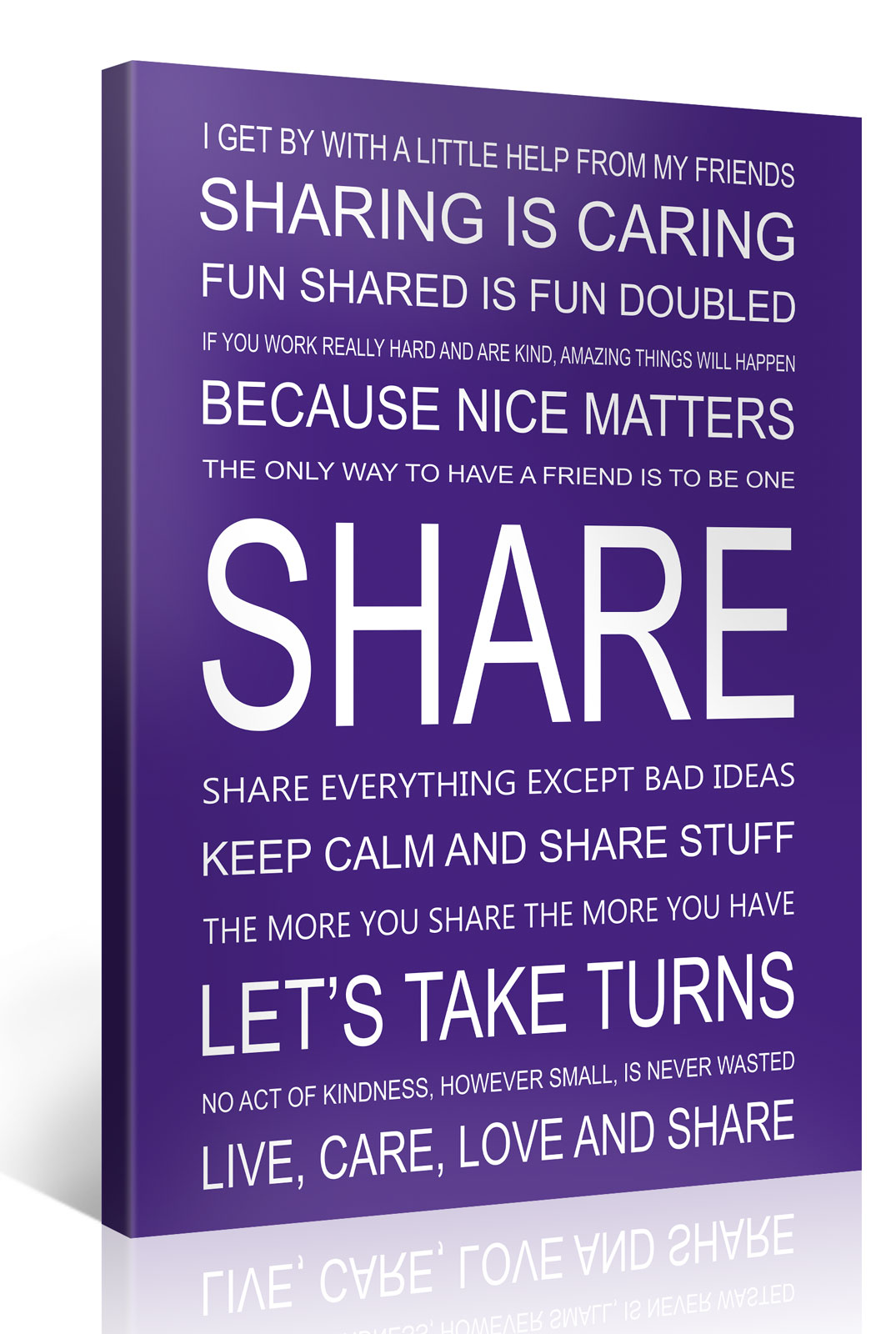 SHARE - 75x100cm Motivation Text Leinwandbild #e7258