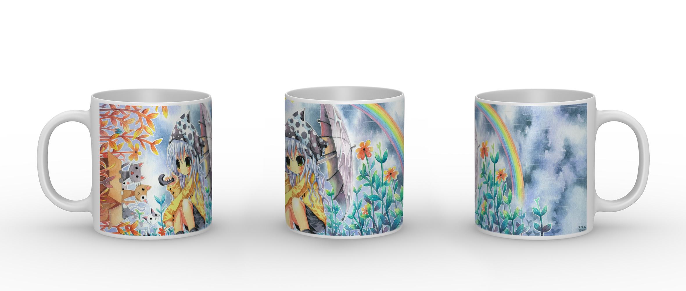Rainbow Girl - Keramik Tasse mit Panorama Motiv