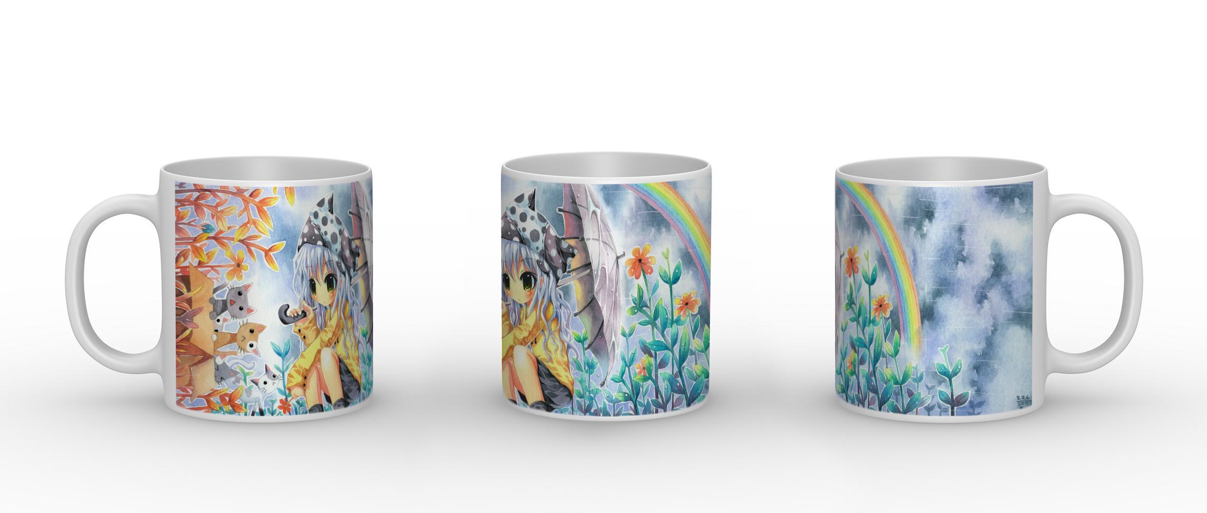 Rainbow Girl - Porzellan Tasse mit Panorama Motiv